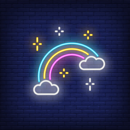 Rainbow neon sign. Glowing neon rainbow with clouds and stars on brick wall background. Vector illustration can be used for topics like gender difference, sexual minority
