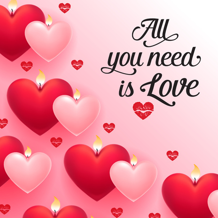 All you need is love lettering with red and pink heart-shaped candles and lipstick kisses on pink background. Valentine Day holiday. Lettering can be used for invitations, greeting cards, leaflets