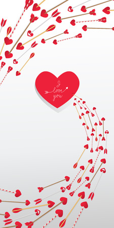I Love You lettering in red heart and arrows in swirl on white background. Valentine Day holiday. Lettering can be used for invitations, greeting cards, leaflets
