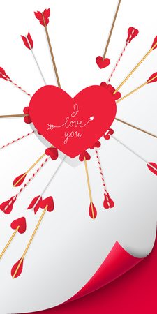 I Love You lettering in red heart with arrows piercing it on white background. Valentine Day holiday. Lettering can be used for invitations, greeting cards, leaflets Illustration