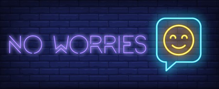 No worries neon sign. Glowing inscription with emoticon inside chat icon on brick wall background. Vector illustration can be used for advertisement, online, chatting