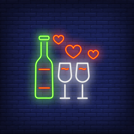 Wine bottle and glasses neon sign. Glowing neon wine bottle and glasses with hearts on brick wall background. Vector illustration can be used for romantic, love, dinner, dating