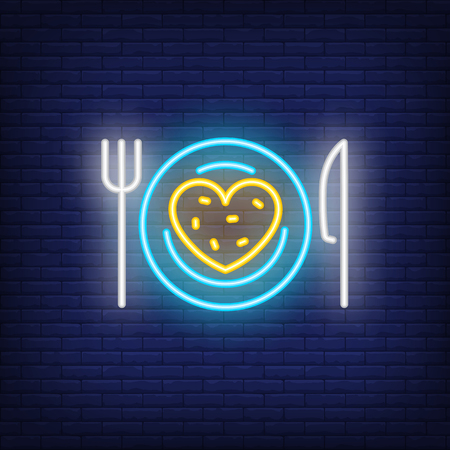 Plate with heart bread neon sign. Glowing neon heart bread on plate with fork and knife on brick wall background. Vector illustration can be used for romantic, love, dinner, dating 向量圖像
