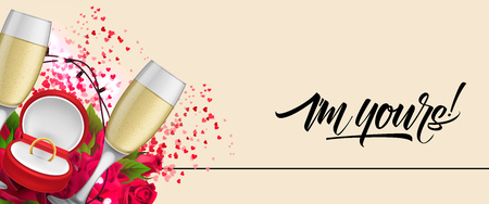 I am yours lettering with champagne flutes and gold ring. Saint Valentines Day or wedding poster. Handwritten text, calligraphy. For leaflets, brochures, invitations, posters or banners.
