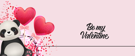Be my Valentine lettering with cartoon panda and hearts. Saint Valentines Day poster. Handwritten text, calligraphy. For leaflets, brochures, invitations, posters or banners.