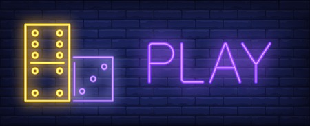 Play neon sign. Glowing inscription with domino dibstones on brick wall background. Vector illustration can be used for game, playing, fortune