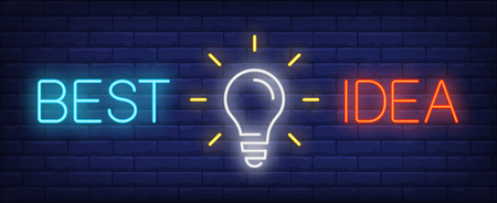 Best idea neon text with light bulb. Idea concept design. Night bright neon sign, colorful billboard, light banner. Vector illustration in neon style.