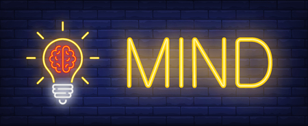 Mind neon text with light bulb and brain. Idea concept design. Night bright neon sign, colorful billboard, light banner. Vector illustration in neon style.