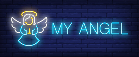 My angel neon text and cute girl with wings praying. Christmas or Easter design element. Night bright neon sign, colorful billboard, light banner. Vector illustration in neon style. Vettoriali