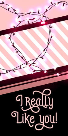 I really like you lettering with lights garland. Saint Valentines Day poster. Handwritten text, calligraphy. For leaflets, brochures, invitations, posters or banners.