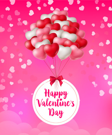 Happy Valentines Day lettering, bunch of heart shaped balloons. Saint Valentines Day greeting card. Handwritten text, calligraphy. For leaflets, brochures, invitations, posters or banners.