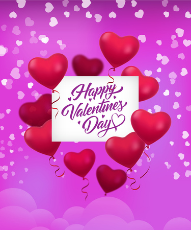 Happy Valentines Day lettering, helium heart shaped balloons. Saint Valentines Day greeting card. Handwritten text, calligraphy. For leaflets, brochures, invitations, posters or banners.