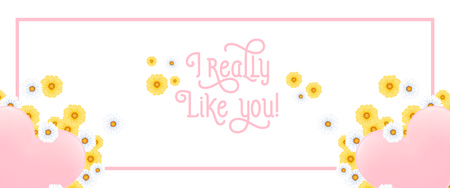 I really like you lettering in frame with hearts and flowers. Saint Valentines Day greeting card. Handwritten text, calligraphy. For leaflets, brochures, invitations, posters or banners.
