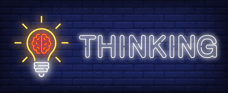 Thinking neon text and light bulb with brain. Idea concept design. Night bright neon sign, colorful billboard, light banner. Vector illustration in neon style.