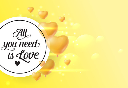 All you need is love lettering in circle with balloons. Saint Valentines Day poster. Handwritten text, calligraphy. For leaflets, brochures, invitations, posters or banners.