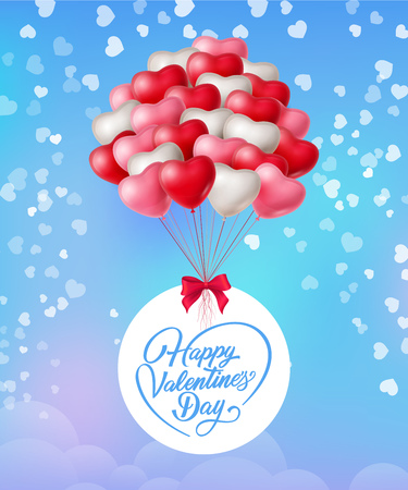 Happy Valentines Day lettering and bunch of balloons. Saint Valentines Day greeting card. Handwritten text, calligraphy. For leaflets, brochures, invitations, posters or banners.