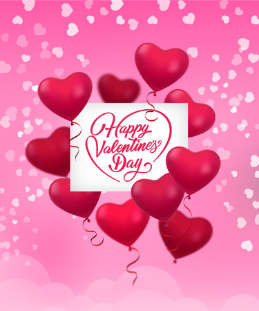Happy Valentines Day lettering with helium balloons. Saint Valentines Day greeting card. Handwritten text, calligraphy. For leaflets, brochures, invitations, posters or banners.