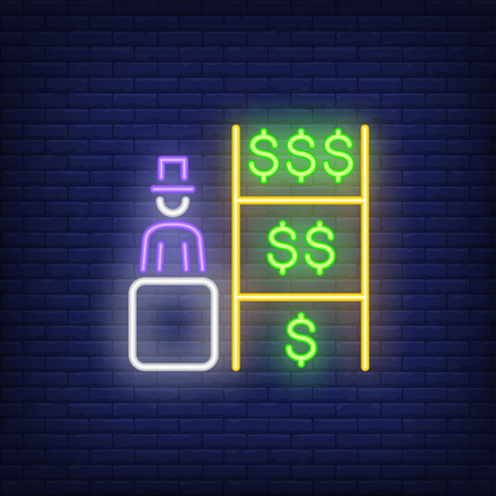 Banker neon sign. Glowing person in cylinder hat with dollar banknotes on brick wall background. Vector illustration can be used for banking, economy, advertisement