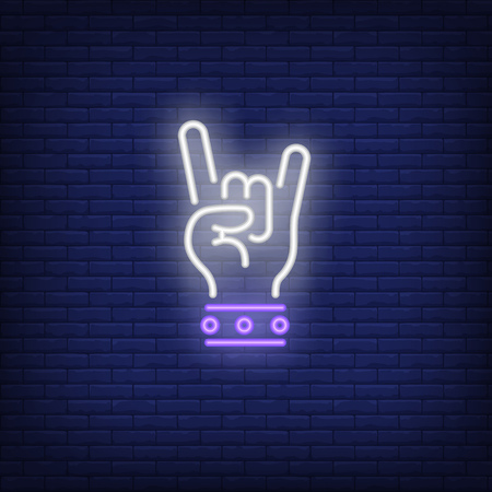 Letrero de neón de rock. Mano que brilla intensamente con dos dedos en gesto de roca sobre fondo de pared de ladrillo. La ilustración del vector se puede utilizar para gesticular, comunicarse, chatear