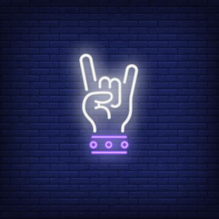 Rockowy neon. Świecąca ręka z dwoma palcami w geście rocka na tle ceglanego muru. Ilustracja wektorowa może służyć do gestów, komunikacji, czatowania