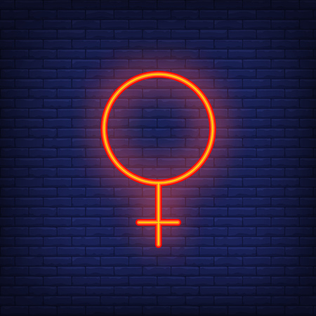 Venus symbol neon sign. Glowing red Venus symbol on brick wall background. Vector illustration can be used for sociality, love, relationships Illustration