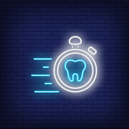 Emergency dental care neon sign. Luminous signboard with tooth and stopwatch. Night bright advertisement. Vector illustration in neon style for commercial, dentistry, clinic Stock Illustratie