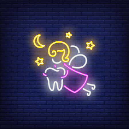 Tooth fairy neon sign. Luminous signboard with fantasy figure holding tooth. Night bright advertisement. Vector illustration in neon style for fairytale, dentistry, stomatology Illustration