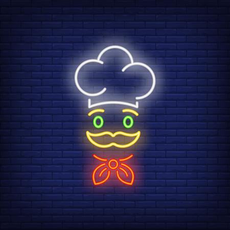 Visage de chef cuisinier en néon de chapeau. Cuisine, service de restauration, conception de publicité de restaurant. Enseigne lumineuse au néon de nuit, panneau d'affichage coloré, bannière lumineuse. Illustration vectorielle dans un style néon. Vecteurs