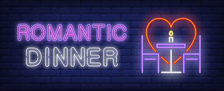 Romantic dinner neon text, heart, table and chairs. Saint Valentines Day or romantic date design. Night bright neon sign, colorful billboard, light banner. Vector illustration in neon style. Illustration