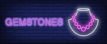 Gemstones neon text with necklace on dummy. Jewelry shop design. Night bright neon sign, colorful billboard, light banner. Vector illustration in neon style.