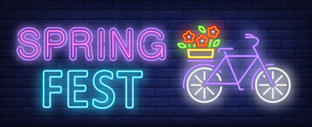 Spring fest neon text, bicycle with flowers on luggage carrier. Spring season festival design. Night bright neon sign, colorful billboard, light banner. Vector illustration in neon style.