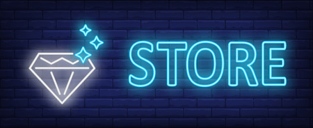 Store neon text with diamond. Jewelry design. Night bright neon sign, colorful billboard, light banner. Vector illustration in neon style. Stock Illustratie