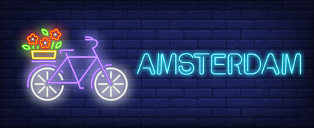 Amsterdam neon text, bicycle with flowers on luggage carrier. Flowers market design. Night bright neon sign, colorful billboard, light banner. Vector illustration in neon style. Vettoriali