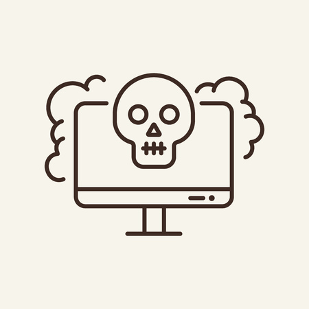 Computer failure line icon. Computer screen, skull and smock on white background. IT support concept. Vector illustration can be used for topics like technology, gadget, repairmen