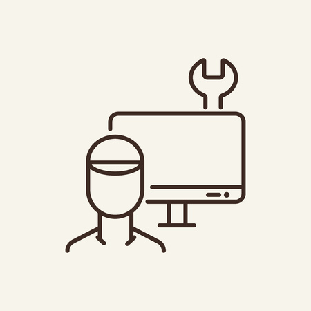 Computer master line icon. Engineer, computer screen and wrench on white background. IT support. Vector illustration can be used for topics like technology, gadget, repairmen