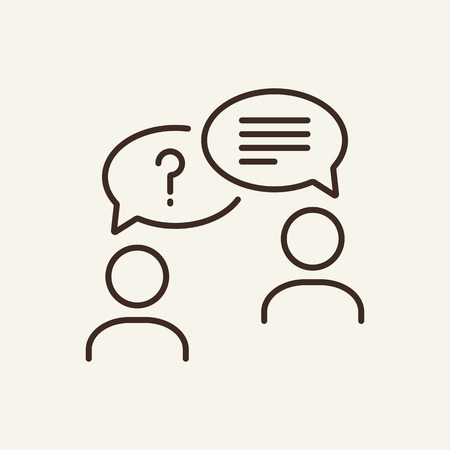 Conversation line icon. Two people talking on white background. IT support concept. Vector illustration can be used for topics like modern life, connection, contact