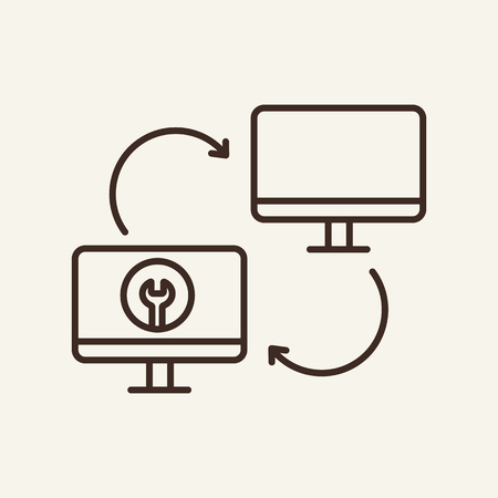 Data exchange line icon. Two computer screens on white background. Modern system concept. Vector illustration can be used for topics like modern life, communication