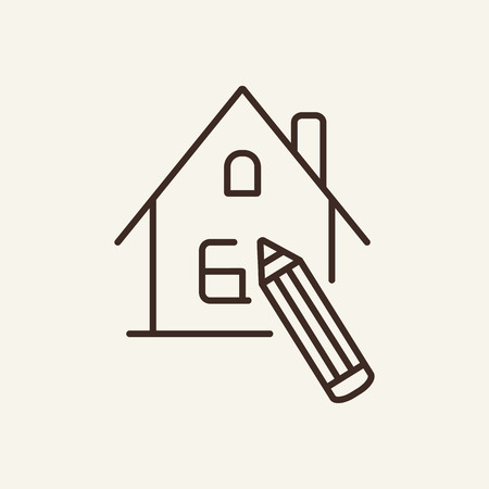 Home design line icon. Cottage and writing pen on white background. Architecture concept. Vector illustration can be used for design, interior, home