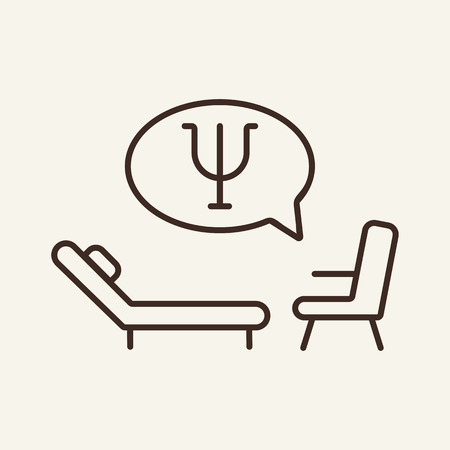 Psychologists office line icon. Chaise longue and chair on white background. Relaxation concept. Vector illustration can be used for topics like design, resort, relax
