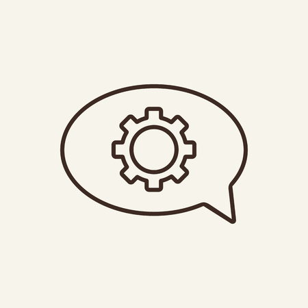 Service chat line icon. Speech bubble with gear on white background. Modern technology concept. Vector illustration can be used for topics like modern life, cloud technology