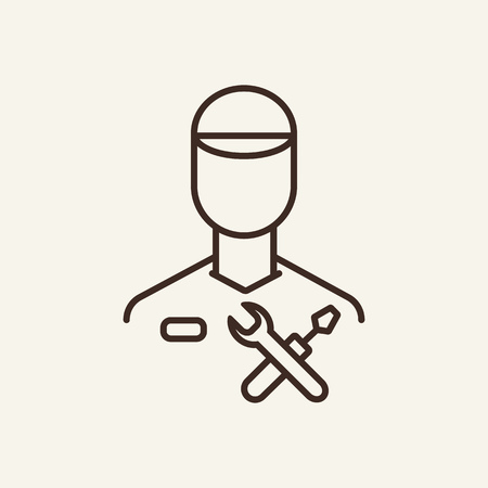 Service master line icon. Spanner, wrench and engineer on white background. IT support concept. Vector illustration can be used for topics like technology, gadget, repairmen Ilustração