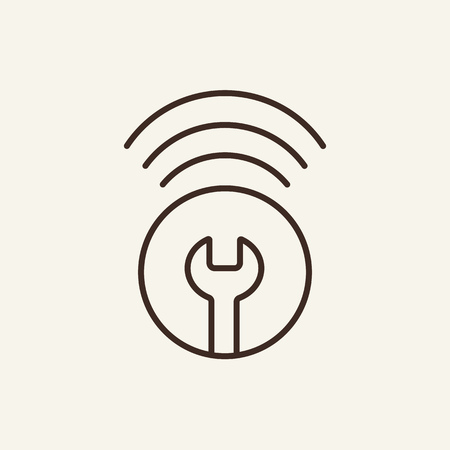 Setting up wi fi line icon. Wrench connection sign on white background. Repair service concept. Vector illustration can be used for topics like modern life, technology Ilustrace