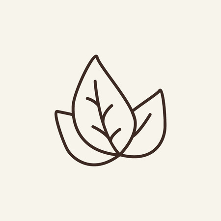 Tea leaf line icon. Leaves on white background. Food concept. Vector illustration can be used for topics like food, kitchen, cafe Stock Illustratie