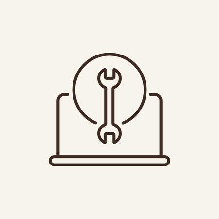 Laptor repair line icon. Spanner and notebook on white background. IT support concept. Vector illustration can be used for topics like technology, gadget, repairmen