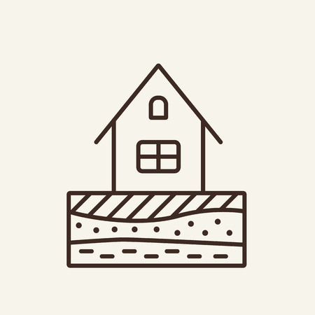Layout of soil line icon. Earth and house on white background. Architecture concept. Vector illustration can be used for topics like building, architecture