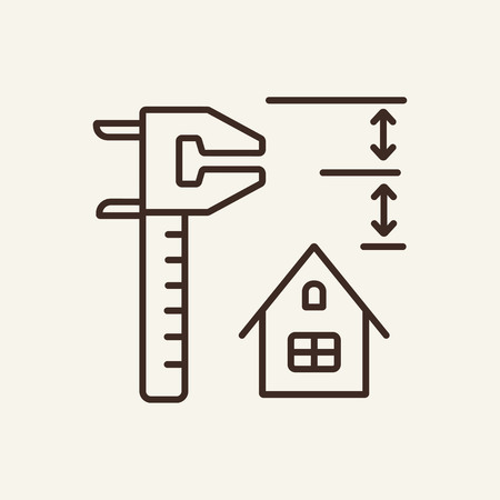 Measuring tool line icon. House, measurement tool on white background. Home interior concept. Vector illustration can be used for topics like interior, design, architecture Ilustracja