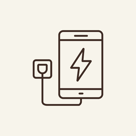 Mobile charging line icon. Smartphone charging with electricity on white background. IT support concept. Vector illustration can be used for topics like modern life, power, charging