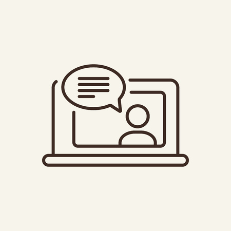 Online support line icon. Notebook screen with person chatting on white background. IT support concept. Vector illustration can be used for topics like like modern life, connection, contact Illustration