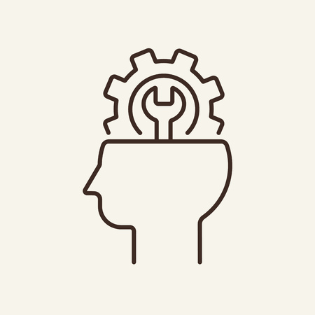 Psychoanalysis line icon. Human head with gear on white background. Psychology concept. Vector illustration can be used for topics like sociality, idea, creativity