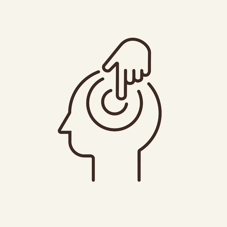 Psychological impact line icon. Head with finger pointing on white background. Psychology concept. Vector illustration can be used for topics like social, education, career